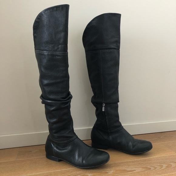 Geox Over Knee Flat Leather Boots - 7